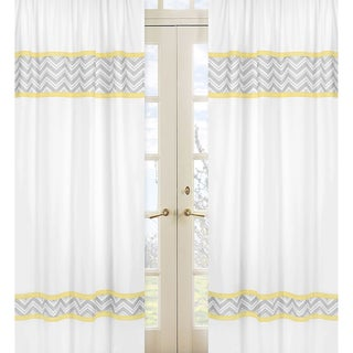 Sweet Jojo Designs Gray, Yellow and White 84-inch Window Treatment Curtain Panel Pair for Gray and Yellow Zig Zag Collection