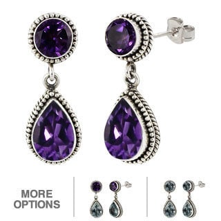 Sterling Silver Amethyst and/or Blue Topaz Round and Pear Shape Dangle Earrings