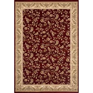 Woven Wilton Traditional Red Floral Rug (4' x 5'3)