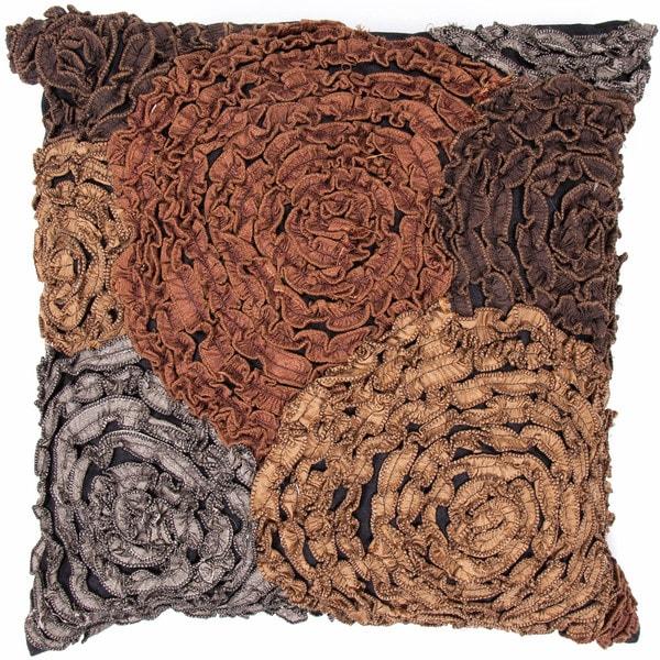 Contemporary Brown/ Gray Square 18-inch Decorative Pillow