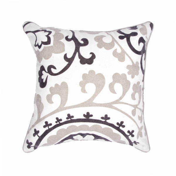 Contemporary Cotton Ivory/ Gray Square 18-inch Decorative Pillow