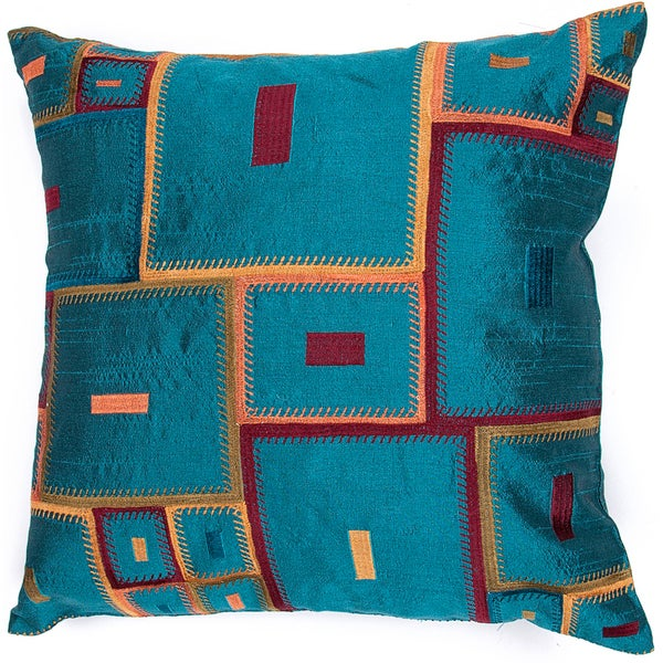 Bohemian Blue Jewel Tone 18-inch Square Decorative Pillow