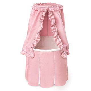 Round Baby Bassinet with Empress Pink Bedding