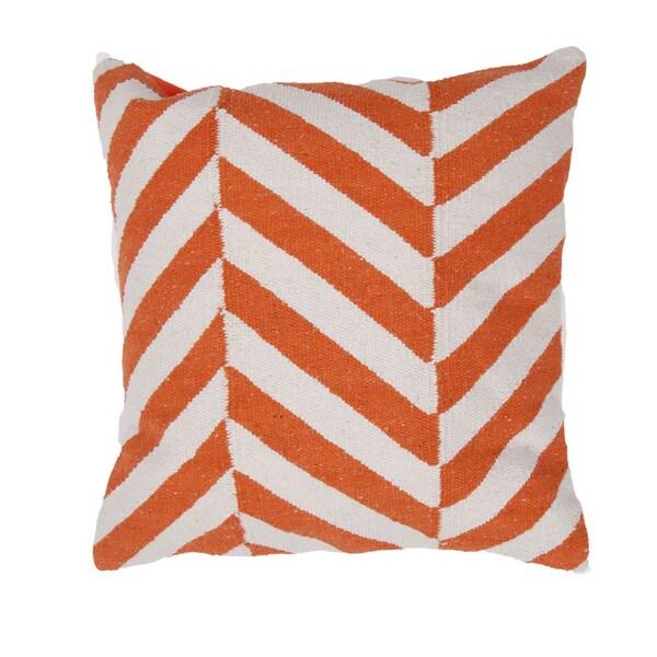 Contemporary Cotton Red/ Orange Square 18-inch Pillow