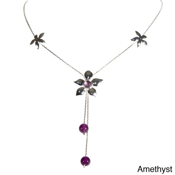 Sterling Silver Flower Design Ball Necklace (Thailand)