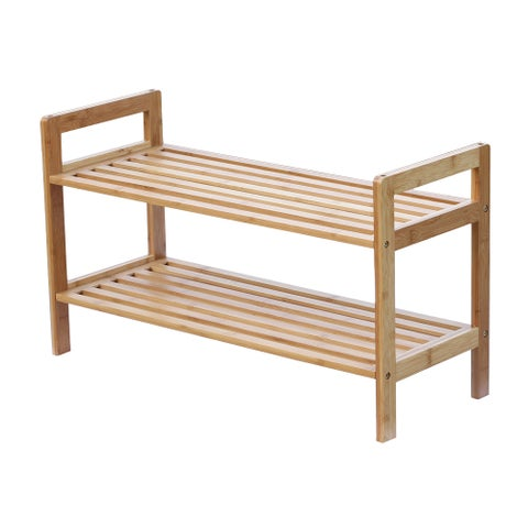 Oceanstar 2-tier Bamboo Shoe Rack