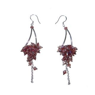 Handmade Sterling Silver Plum Faceted Crystal Earrings (China)