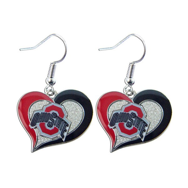 NCAA Team Logo Silvertone Heart-shaped Earrings