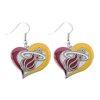 NBA Basketball Team Logo Silvertone Heart-shaped Earrings