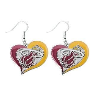 NBA Basketball Team Logo Silvertone Heart-shaped Earrings