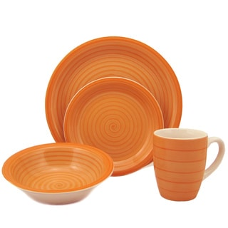 16-Piece Orange Swirl Stoneware Dinnerware Set