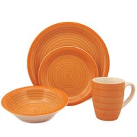 16-Piece Orange Swirl Stoneware Dinnerware Set