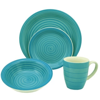 16-Piece Blue Swirl Stoneware Dinnerware Set