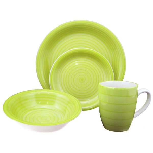 Shop 16 Piece Green Swirl Stoneware Dinnerware Set Free