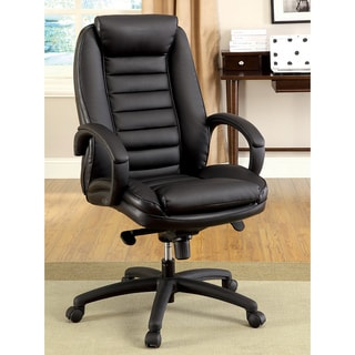 Furniture of America Modern Adjustable Black Leatherette Office Chair