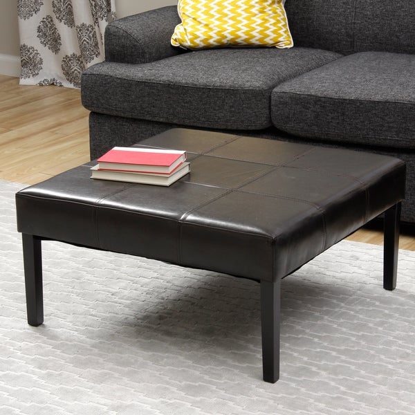 Square Faux Leather Coffee Table Ottoman Free Shipping Today 15179137
