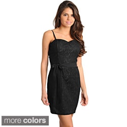 Stanzino Women's Black Lace Overlay Sleeveless Dress