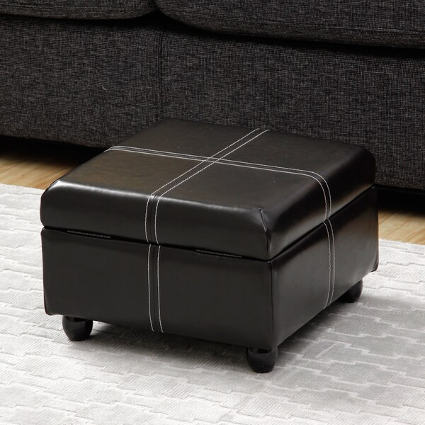 Dark Brown Square Storage Ottoman
