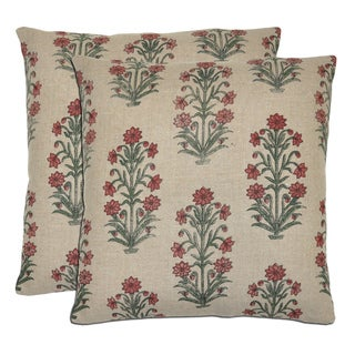 Kosas Home Bella Printed Plants Linen l Throw Pillows (Set of 2)