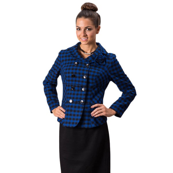 Grace Gallo New York Women's 'Olivia' Blue Plaid Jacket