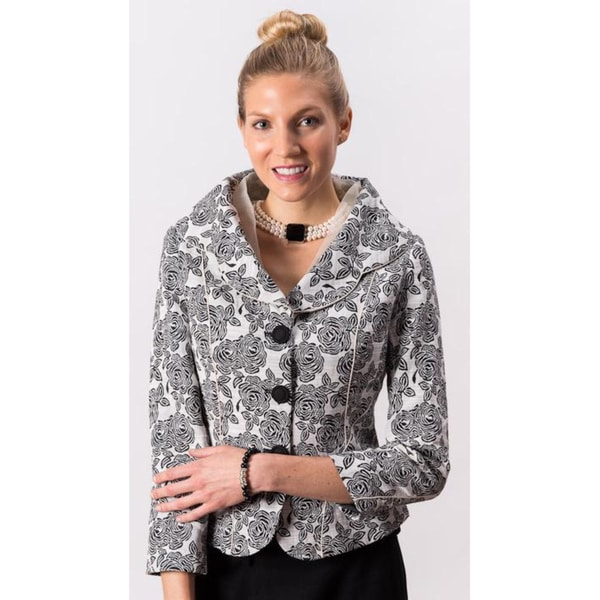 Grace Gallo New York Women's 'Sabrina' Black and White Floral Formal Jacket