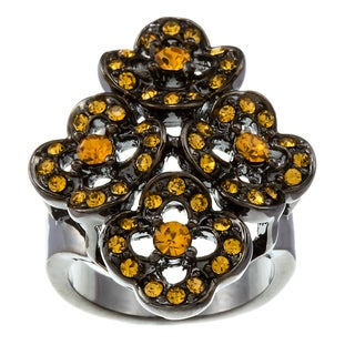 Kate Bissett Black Rhodium-plated Champagne Cubic Zirconia Cocktail Ring