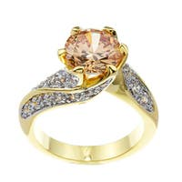 Kate Bissett 14k High-Polished Gold-Overlay Champagne Cubic Zirconia Cocktail Ring