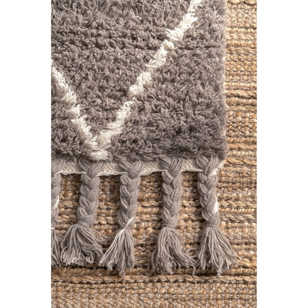 NuLOOM Hand Knotted Moroccan Trellis Natural Shag Wool Rug (8u0027 X 10u0027)    Free Shipping Today   Overstock.com   15179262