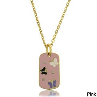 Molly and Emma 18k Gold Overlay Children's CZ/ Enamel Butterfly Necklace (2 options available)