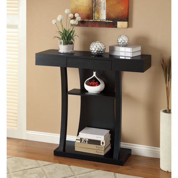 Black Finish Console Sofa Table with Drawer Free Shipping Today