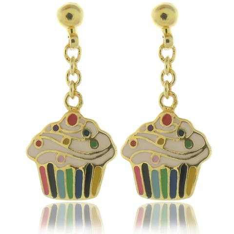 Molly and Emma 18k Gold Overlay Children's Enamel Cupcake Earrings