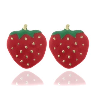 Molly and Emma 18k Gold Overlay Children's Enamel Strawberry Earrings