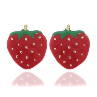 Molly and Emma 18k Gold Overlay Children's Enamel Strawberry Earrings