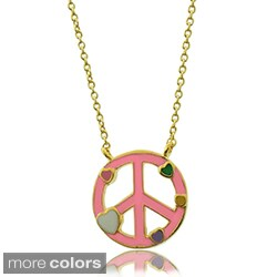 Molly and Emma 18k Gold Overlay Children's Enamel Heart Peace Necklace