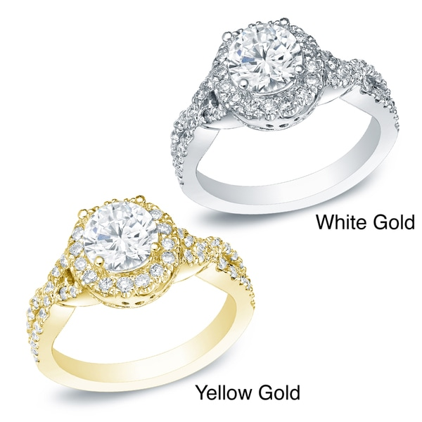 Auriya 14k Gold 1ct TDW Certified Round Diamond Engagement Ring