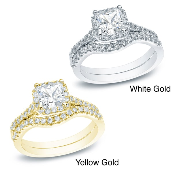 Auriya 14k Gold 1 1/5ct TDW Princess-cut Diamond Halo Engagement Ring Bridal Set