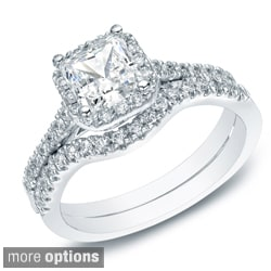Auriya 14k Gold 1 1/5ct TDW Princess-cut Diamond Halo Engagement Ring Set