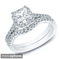 Auriya 14k Gold 1 1/5ct TDW Princess-cut Diamond Halo Engagement Ring Bridal Set