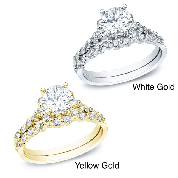 Auriya 14k Gold 1 1/2ct TDW Certified Diamond Bridal Ring Set (H-I, SI1-SI2)
