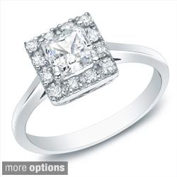 Auriya 14k Gold 1/2ct TDW Princess Diamond Halo Engagement Ring