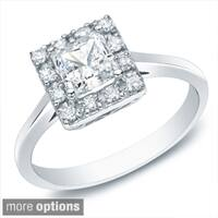 Auriya 14k Gold 1/2ct TDW Square Princess-cut Diamond Halo Engagement Ring