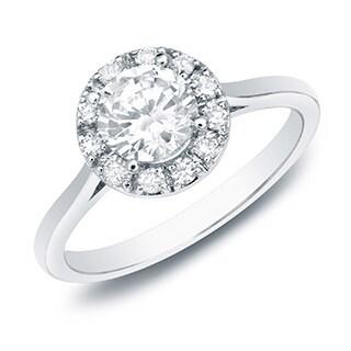 The Astoria by Auriya 14k Gold 1/2ct TDW Round Diamond Halo Engagement Ring