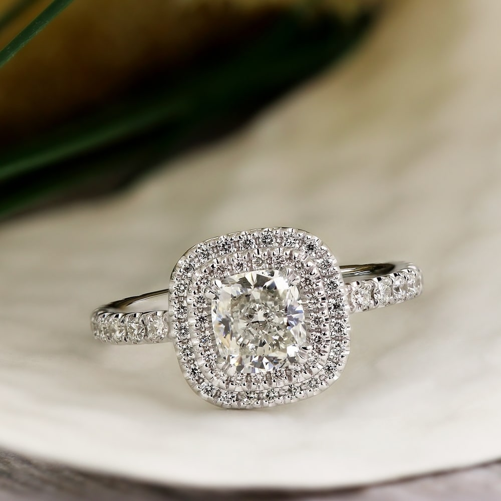 Shop Auriya 14k Gold 1 3 4ctw Cushion Cut Double Halo Diamond Engagement Ring Certified Overstock 7784626