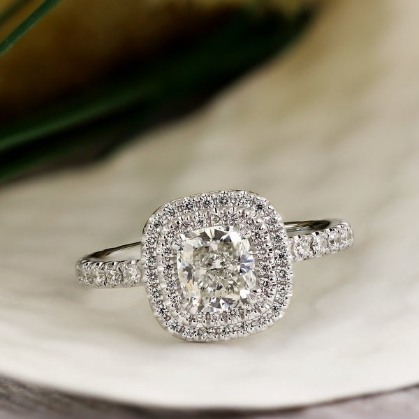Auriya 14k Gold 1 3/4ctw Cushion-cut Double Halo Diamond Engagement Ring Certified. Opens flyout.