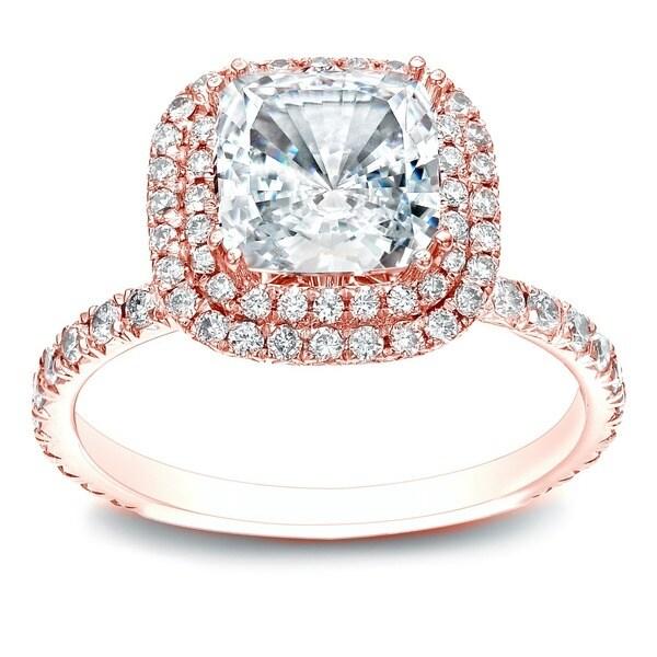 Auriya 14k Gold 1 3/4ct TDW Certified Cushion-cut Diamond Halo Engagement Ring