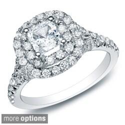 Auriya 14k Gold 1 3/4ct TDW Certified Diamond Halo Engagement Ring