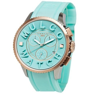 Mulco Unisex 'Post' Light Blue/ Goldplated Watch