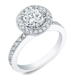 Auriya 14k Gold 1ct TDW Certified Round Diamond Engagement Ring (H-I, SI1-SI2)
