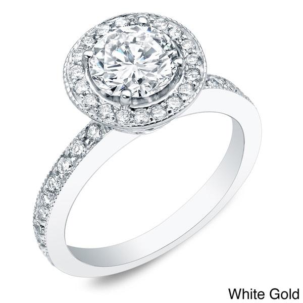 Auriya 14k Gold 1ct TDW Certified Round Diamond Halo Engagement Ring
