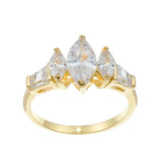 Kate Bissett 14k Gold Overlay Marquise and Baguette Cubic Zirconia Anniversary Ring